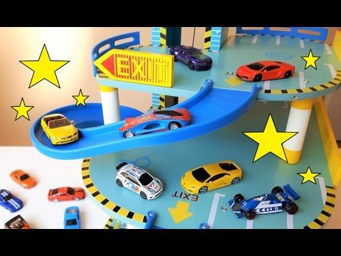 Toy car video for children. Featuring a parking garage and Hotwheels.