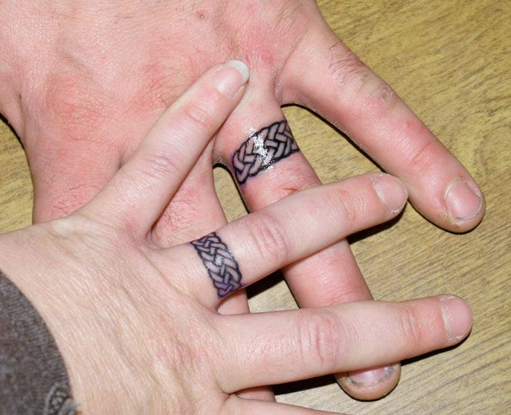 tattooed wedding bands wedding ring tattoo ideas for alternative brides ring finger tattoos - Wedding Ring Finger Tattoos