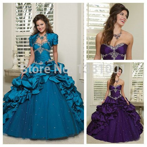 lange blauwe en paarse quinceanera jurken sweet 16 2014 nieuwe aankomst sweetheart vestido de debutante curto vloer lengte om te feesten