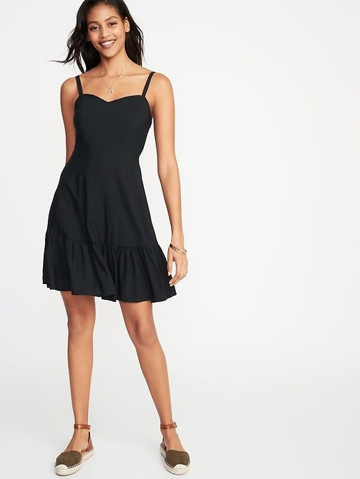 cec7656eb5b Old Navy Women s Fit   Flare Tiered Cami Dress Black Big And Tall ...