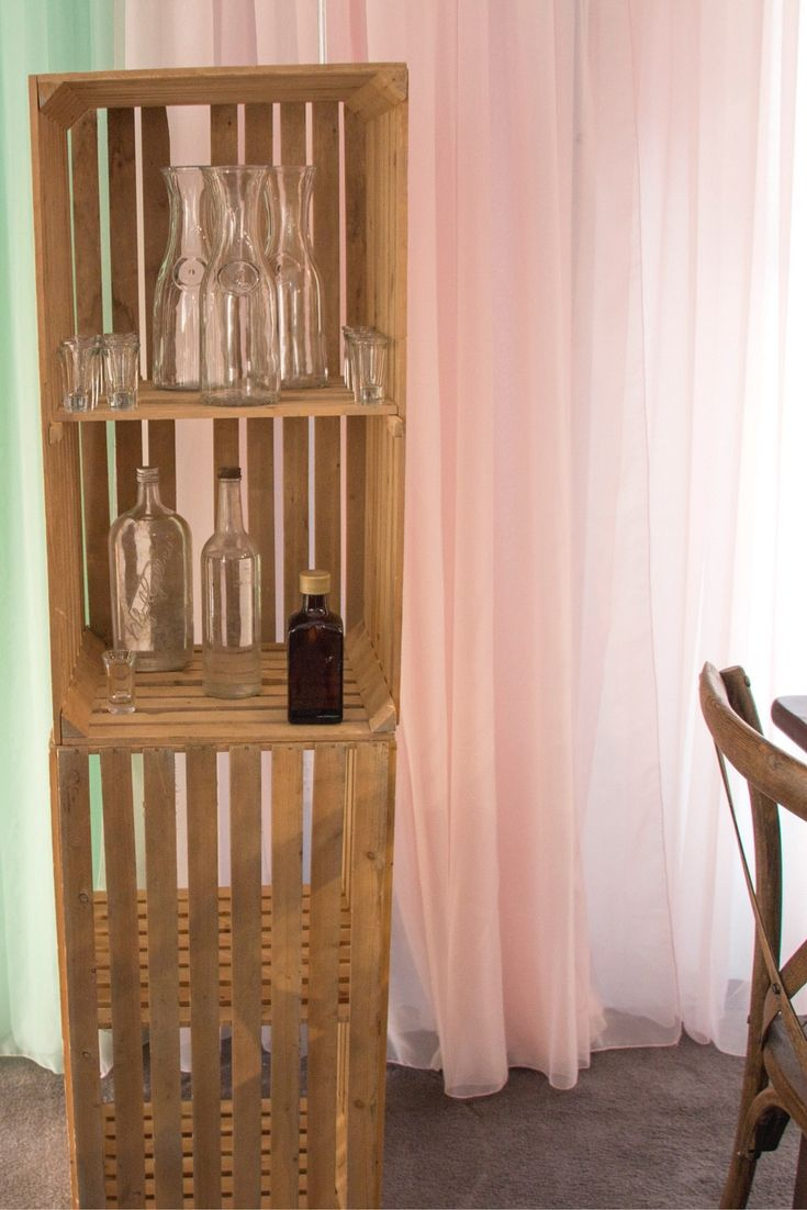 Pink and Mint sheer are stunning with this rustic look! We love all you can do with a simple crate.