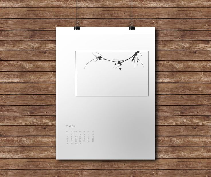 2017 MARCH Calendar, Minimal Art, Plants, Geometric, Modern Art by KYLprintable on Etsy
