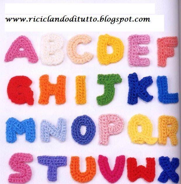 Schemi lettere dell'alfabeto per uncinetto. | 630x620