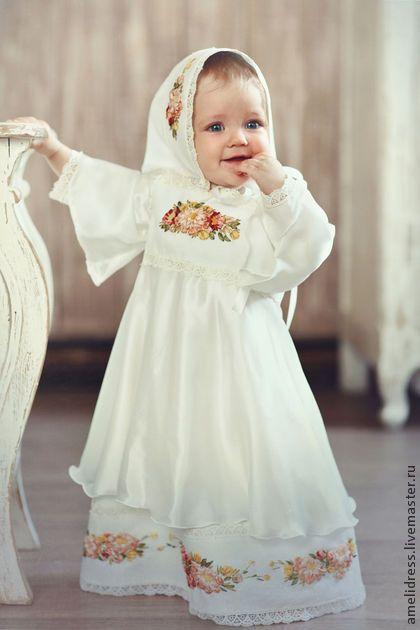 крестильное платье - белый,шелк,Вышивка лентами,косыночка,народное платье