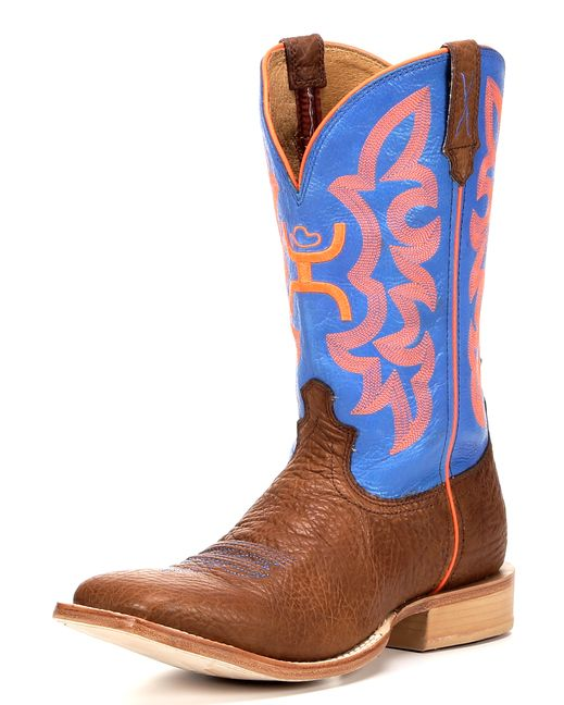"""Twisted X Boots Men's Hooey NWS Toe 12"""" Boots - Cognac/Blue"""
