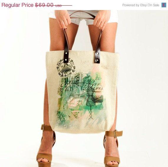 Spring Sale Paris Girl Summer Shoulder Bag Tote Bag by KlothoBags