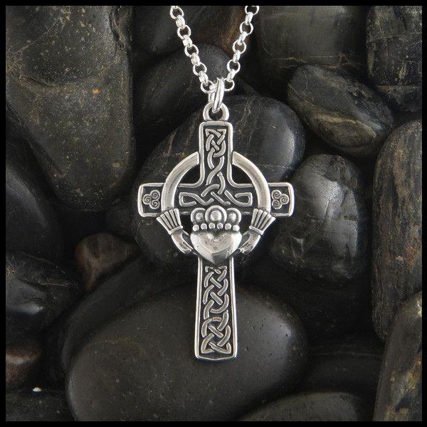 Unique Irish Celtic Claddagh cross in Sterling Silver.