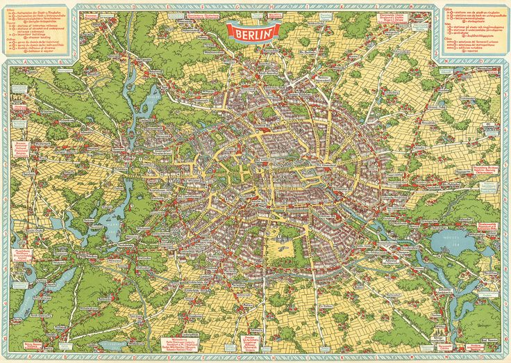 New Vintage Map Restoration: 1931 Birds-Eye Map of Berlin, GermanyA lot of work went into cleaning this beautiful map up – dirt, fold lines, age spots and errant ink all had to be removed – but it was definitely worth it. This is already one of my very favourite map restoration projects, and I invite you to head on over to my design blog to check out further details.Project Page | Prints from $28 | Zoomable Preview of Map