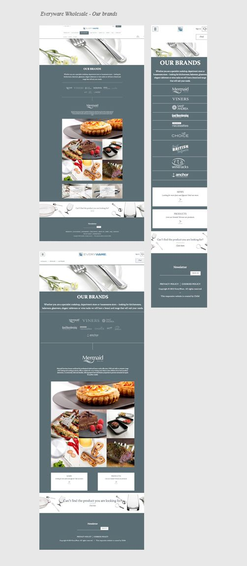Everyware Wholesale- Our Brands.  Retailers can order a single piece of exclusive cutlery from different brands. http://www.everywareglobal.co.uk/   Author: Chilid. Responsive Web Design