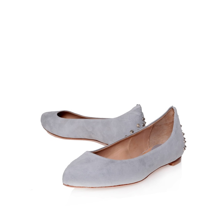 studded ponity flat, grey shoe by mc q - £225
