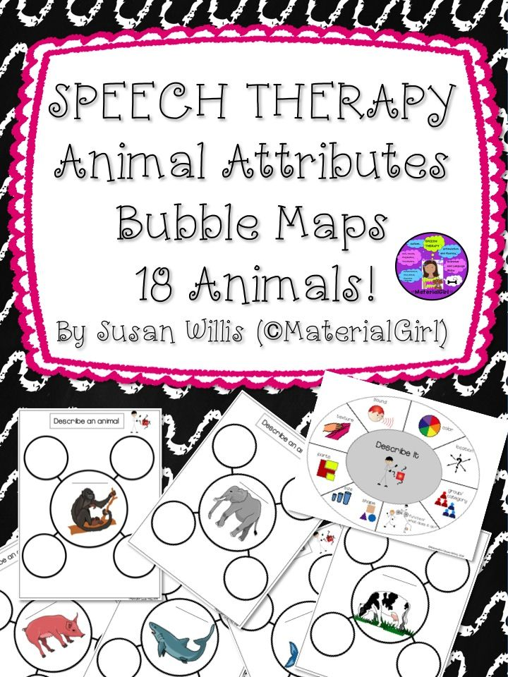 """Animal Attributes Bubble Maps"" with 18 animal maps. SEE PREVIEW. This is a great activity for naming attributes of an animal. I also included an attributes ""description wheel"" visual to cue for color, location, group, function, size, shape, parts, texture and sound. This is an easy activity to prepare. Just print the activity pages and ready to use. #speech #speechtherapy #attributes #bubblemaps #describewheel"