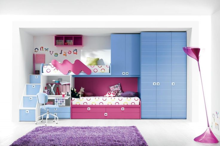 http://www.drissimm.com/wp-content/uploads/2015/04/Adorable-childrens-bedroom-with-pink-blue-bunk-bed-and-unique-standing-lamp-decoration.jpg
