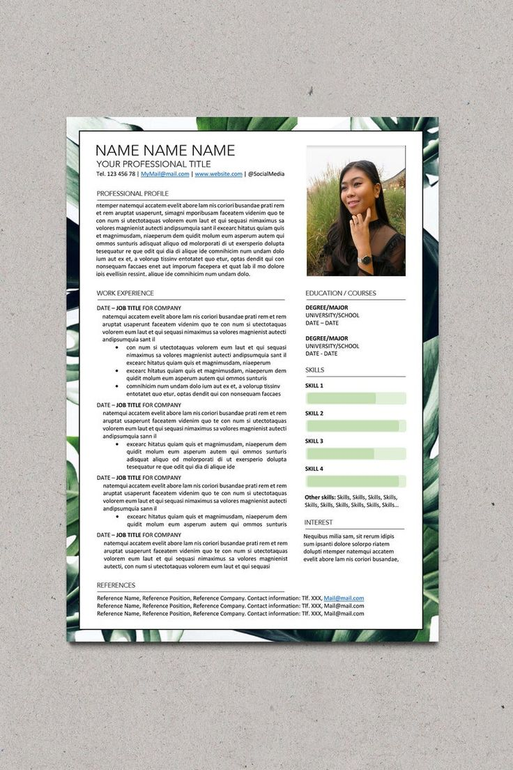 One Page RESUME/CV template + COVER Letter for the