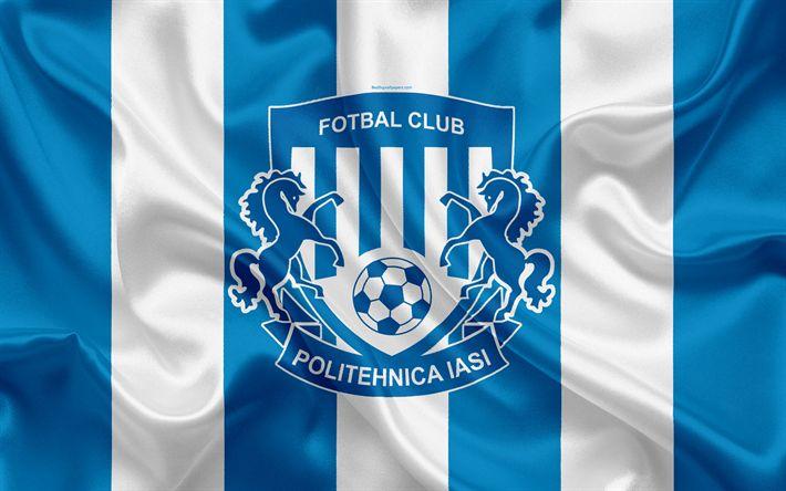 Download wallpapers FC Politehnica Iasi, 4k, Romanian football club, logo, silk flag, Romanian Liga 1, Iasi, Romania, football