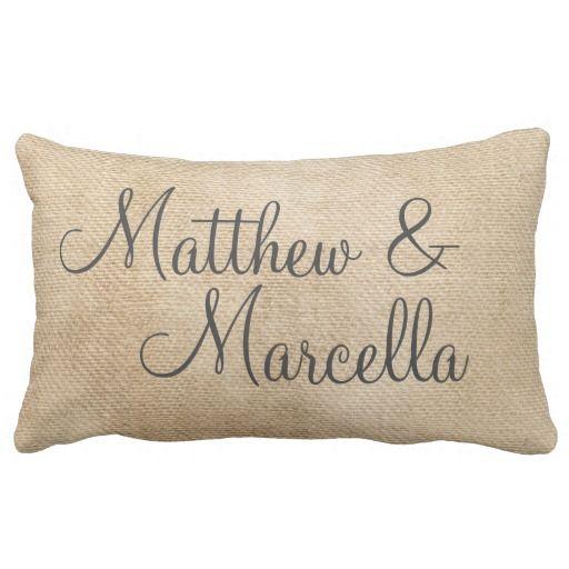 Burlap Vintage Personalize Wedding Names Date #zazzle #pillow #decor