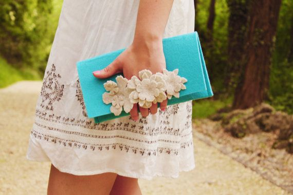 Felt Clutch with front handle covered with by Junoesqueaccessories, €28.00