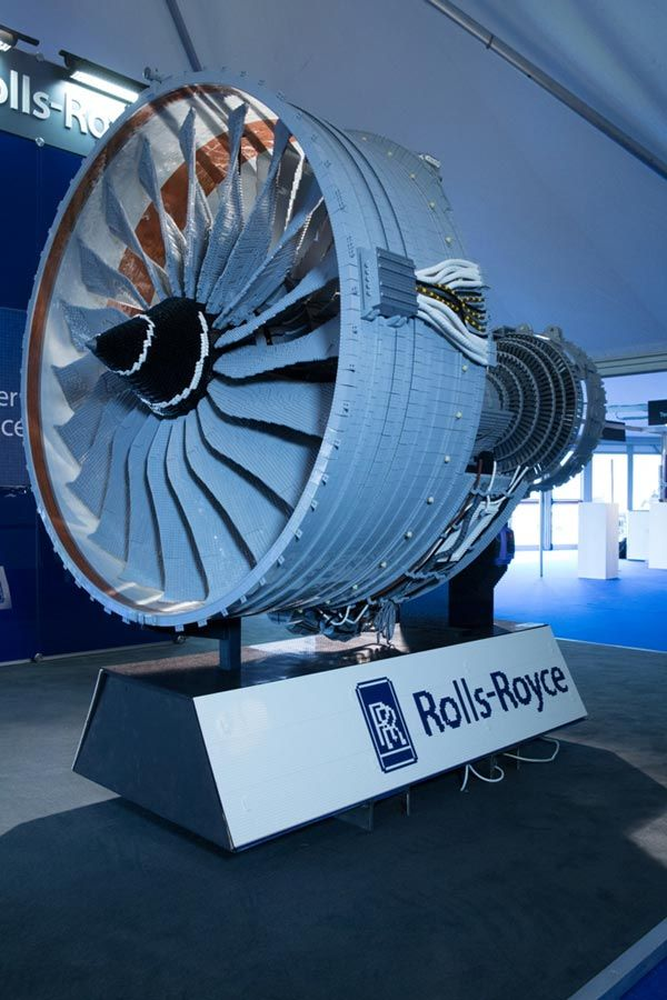 This half scale LEGO model of a Rolls-Royce Trent 1000 jet engine was built by Rolls-Royce and Bright Bricks for last weekend's Farnsborough Air Show in the UK (video). The model weighs 676 pounds, is 6.5 feet long, and is made of 152,455 LEGO bricks.