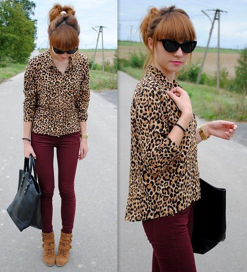 how to wear leopard print If you don't want to try anything too crazy, pair leopard print with burgundy pants. The result is incredibly chic.