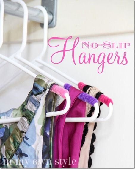 Pipe cleaners on the end of a coat hangers to stop your garments falling off. So clever