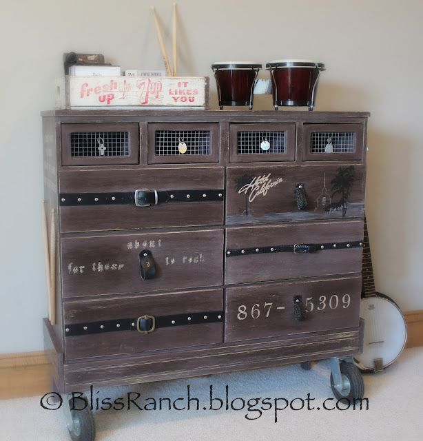 Funky Junk Interiors: SNS 143 - Creative dressers. Dresser for a boy's room.  Love the belts and rock music references. Addition of casters makes this very convenient, too.