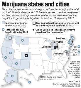 Pain Sufferers Welcome Medical Marijuana U S Map Shows The Four Cities That Voted Earlier This