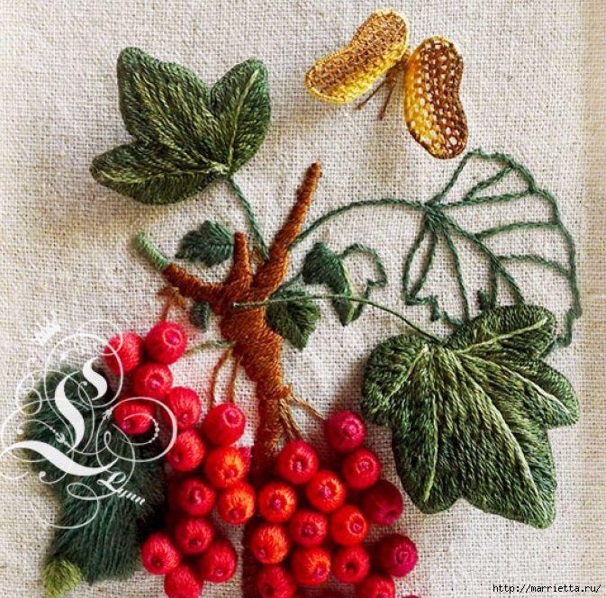 Цветы объемной вышивкой гладью. Красивые работы (20) (673x664, 444Kb)