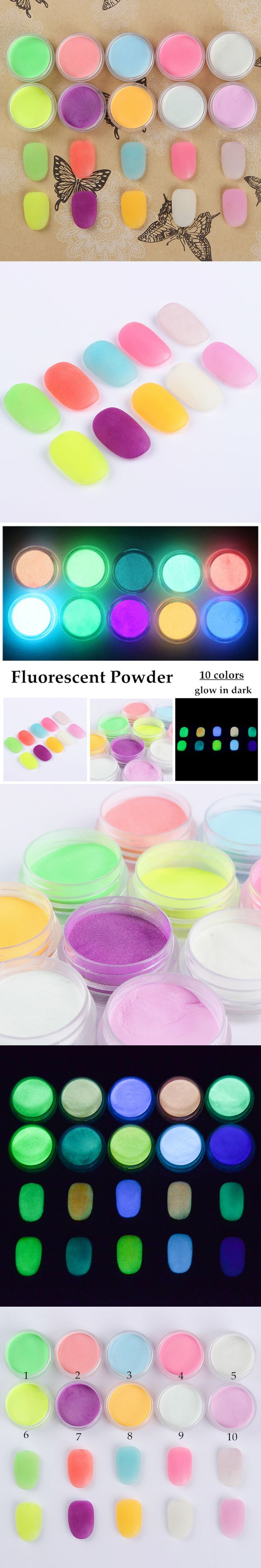 10 Neon Colors Luminous Fluorescent Powder Graffiti Glow In Dark Nail Art Acrylic Use Pigment Party Wall Body Painting Manicure