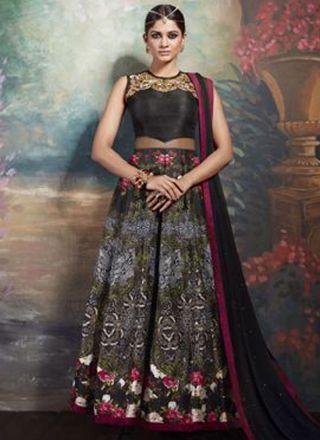 Black Embroidery Work Silk Designer Printed Long Anarkali Suit http://www.angelnx.com/Salwar-Kameez/Anarkali-Suits