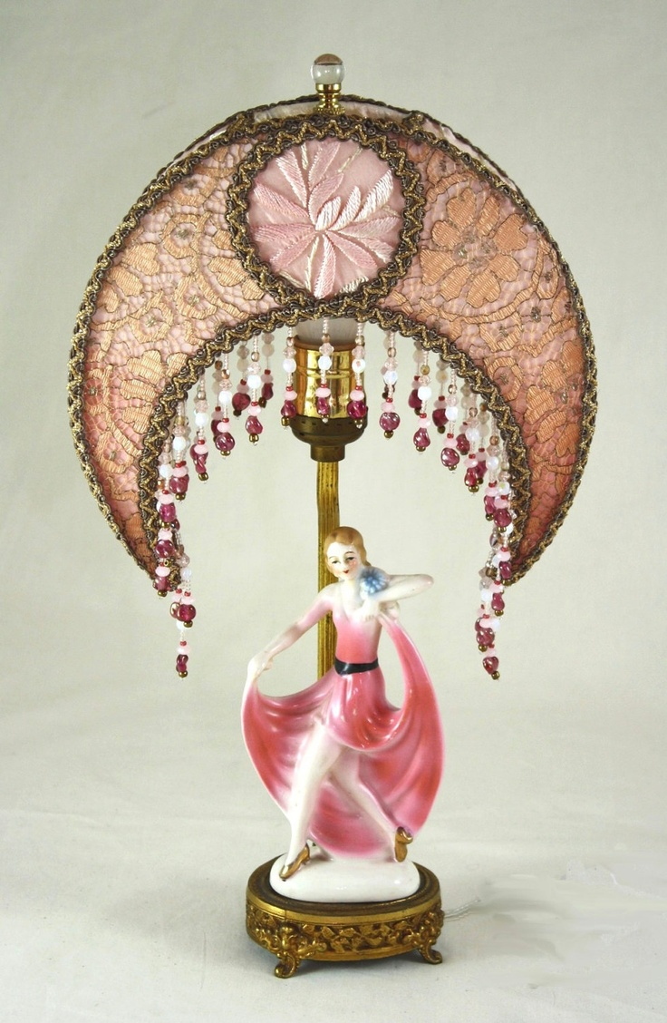 Glass mermaid sitting on conch shell accent lamp eclectic table lamps - Deco Boudoir Lamp