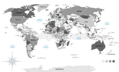 Political world map on white background, with every state labeled and selectable (labeled in Layers panel also). Versatile file, turn on an off visibility and color of each country in one click. — Stock Illustration #52199517
