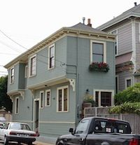 Alameda Spite House. If you check out aerial views of the site, that house is RIGHT in the way of the one next door—practically on top of it.