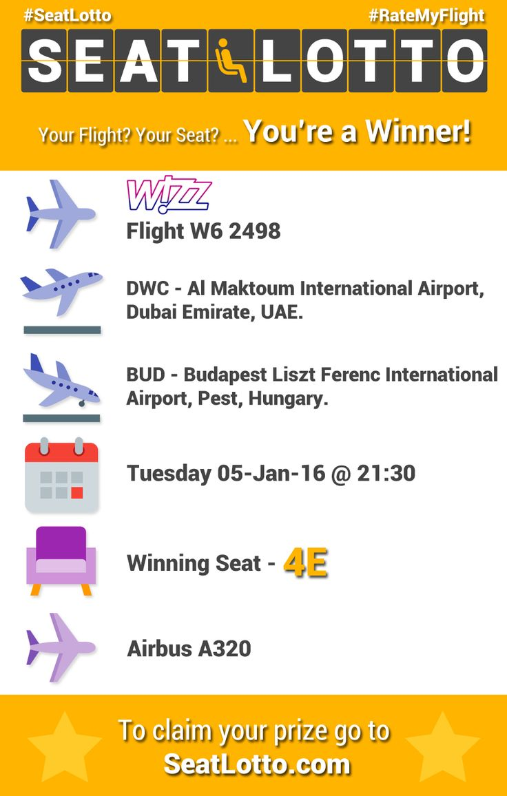 Seat Lotto™ winning seat 4E was on Wizz Air flight W6 2498 which departed on 05-Jan-16 from Dubai (DWC) to Budapest (BUD).