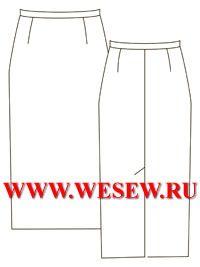 Выкройка классической прямой юбки со шлицей сзади для полных Обхват талии 94см обхват бедер 120см длина юбки 65см
