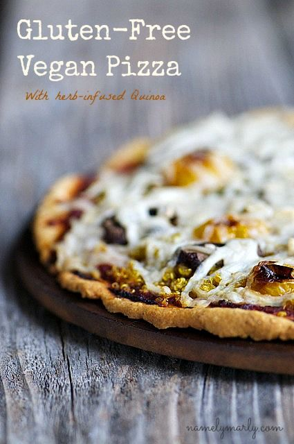 """GLUTEN-FREE VEGAN PIZZA WITH HERB-INFUSED QUINOA (Part 1) Pizza is like the """"Tale of Two Cities"""" in a food-lover's world – it can be the best of times, and the worst of times. It's the best of times when you get the perfect crispy crust with all the right toppings. CRUST   3/4 cup warm water  1 teaspoon sugar  2 teaspoons active dry yeast  1 tablespoon olive oil  1 tablespoon ground flax seed  1 1/2 cup Arrowhead Mills"""