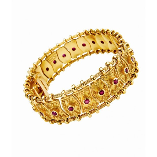 Bracelet in gold 18KT with rubbies from the collection Byzance. ZOLOTAS house of jewelry