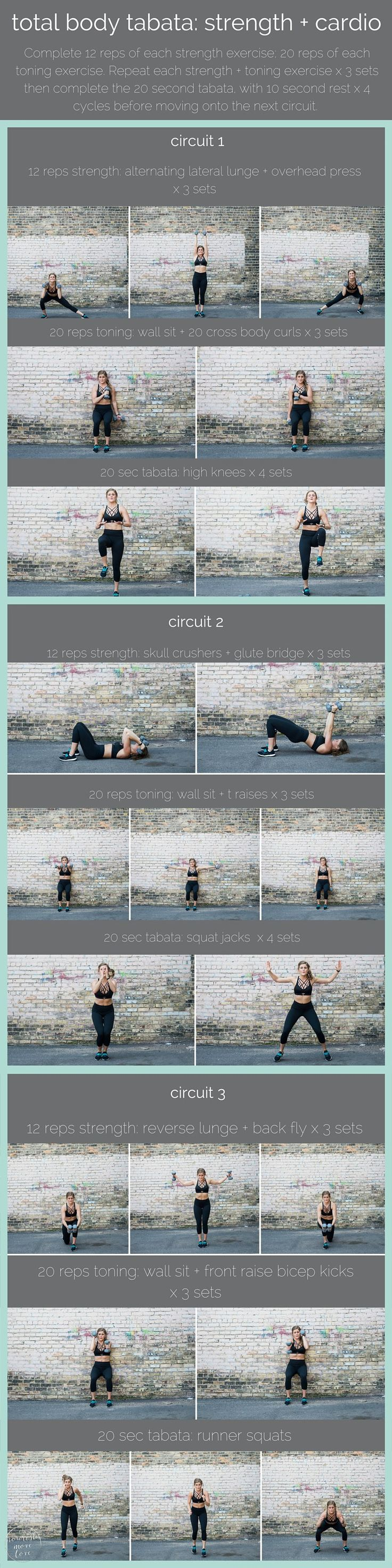 total body tabata with dumbbells {cardio + strength} | ready to test your cardiovascular stamina? combine dumbbell strength training with cardio intervals in this tri-circuit, total body tabata workout. | www.nourishmovelove.com