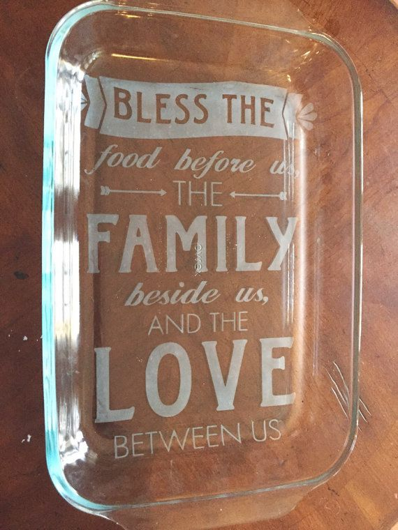 Our etched glass bakeware makes the perfect wedding gift, shower gift or Holiday gift for any home cook! This gorgeous hand etched glass
