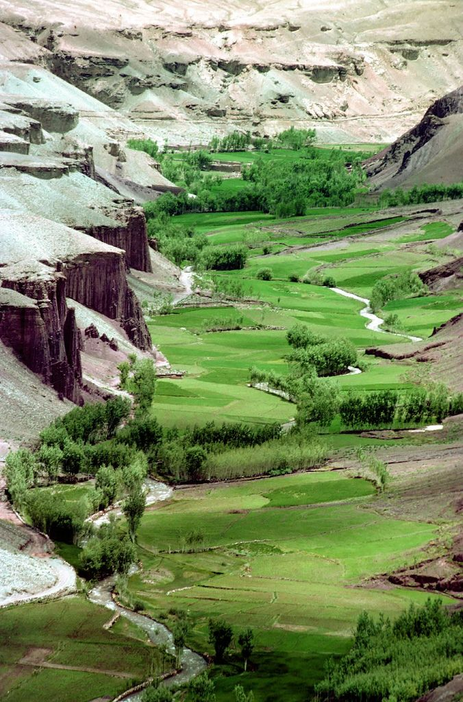Bamiyan Valley Afganistan*-*. I always picture this country as sandy brown, never this lushness!