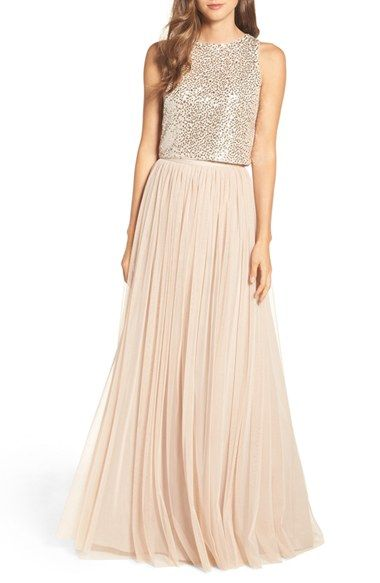 Free shipping and returns on Adrianna Papell Sequin Two Piece Gown at Nordstrom.com. A slightly boxy sleeveless top illuminated with scores of two-tone sequins is a structured counterpart to a romantically voluminous tulle skirt with a flattering, nipped-in waistband.