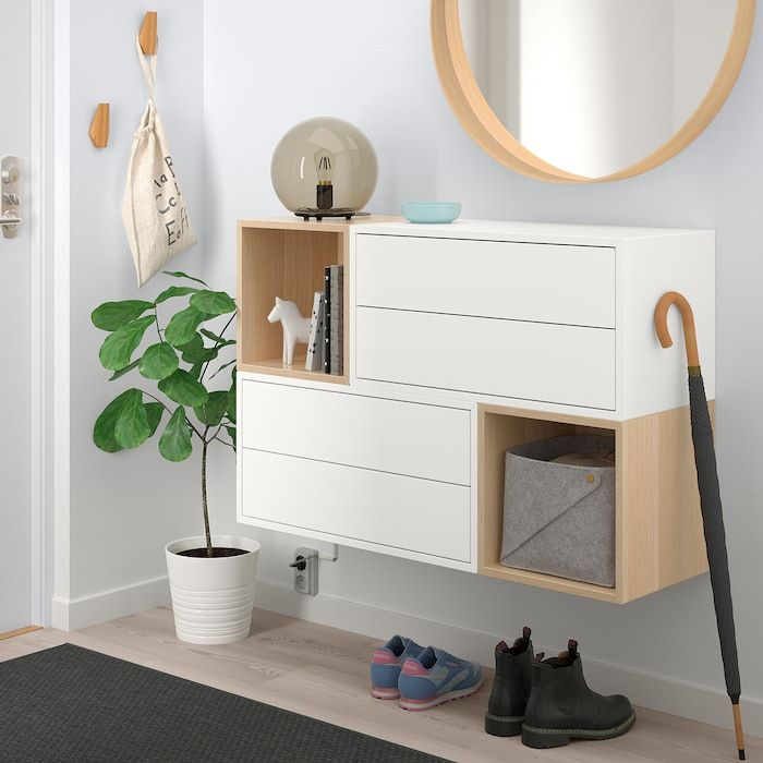 Eket Wall Mounted Cabinet Combination White White Stained Oak