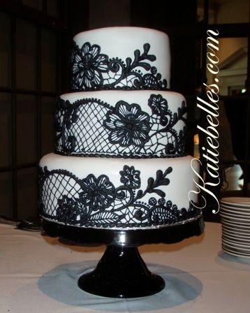 black lace wedding cake