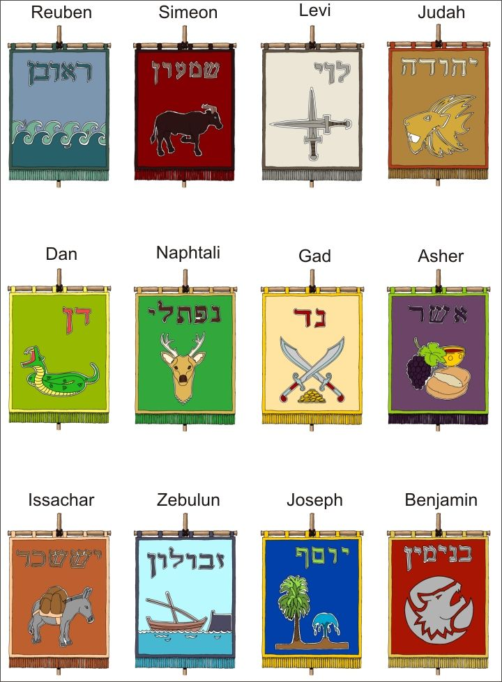 "Banners for the 12 Tribes of Israel, not ""official"", but designed by info from the Bible. Bandeiras das doze tribos de Israel."