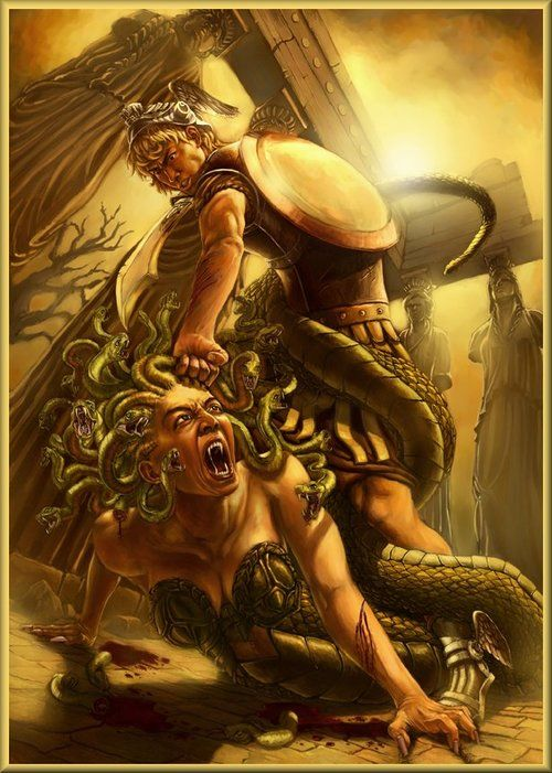 "Perseus and Medusa In Greek mythology Medusa (""guardian, protectress"")[1] was a monster, a Gorgon, generally described as having the face of a hideous human female with living venomous snakes in place of hair. Gazing directly into her eyes would turn onlookers to stone."