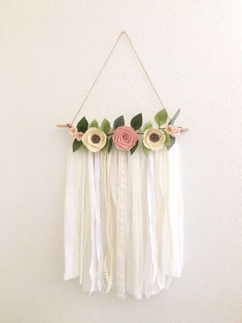 READY TO SHIP // Shabby Chic Wall Hanging // Felt Flower Wall Hanging // Floral Wall Hanging // Flower Wall Art // Nursery Decor by HoneyCrown on Etsy https://www.etsy.com/listing/516373416/ready-to-ship-shabby-chic-wall-hanging