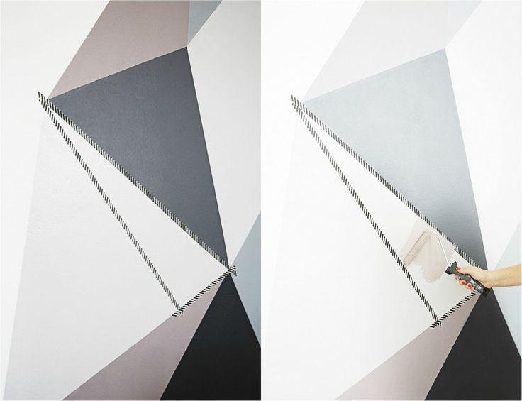 peinture décorative dessin géométrique - des triangles originaux en deux nuances de gris, marron et noir