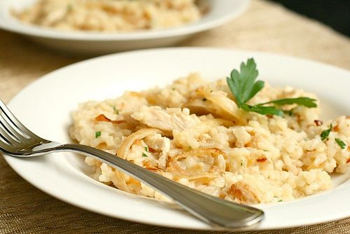 Risotto w/Chicken & Caramelized Onions - a meal that my husband asks for over and over again. This is great comfort food on a chilly day & it makes enough for leftovers too!!!