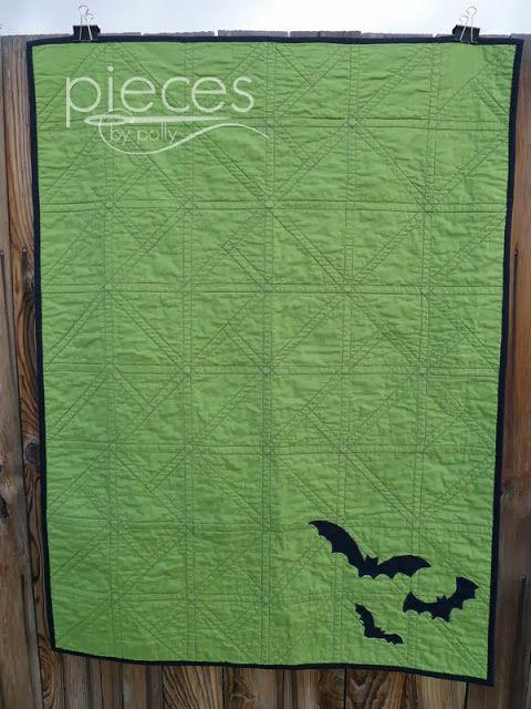 Pieces by Polly: Bats, Bats, Bats! - Modern Halloween Triangles Quilt  Free bat template.