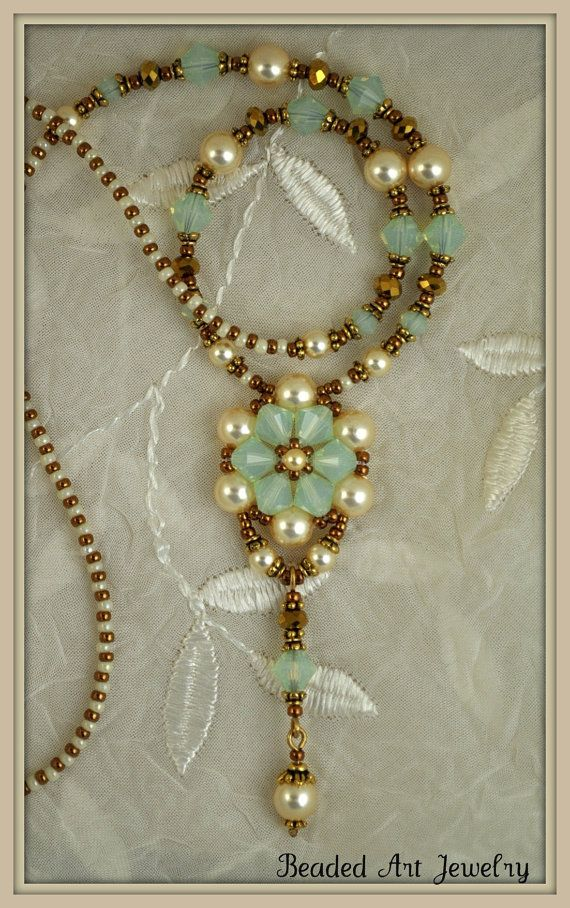 Crystal and Pearl Flower Necklace Beadwoven    (Would this be considered Art Nouveau?  It's so gorgeous~<3)