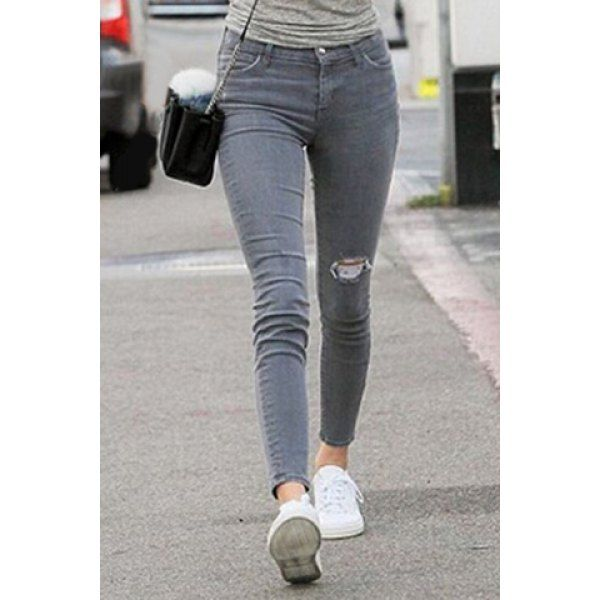 Fashionable Women's High Waist Grey Ripped Jeans