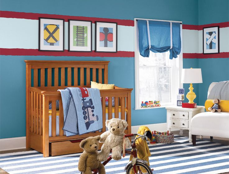 Shades Of Blue And Locomotive Themed Accessories Put You On Track For One Handsome Room Railroad Ties Inspired The Striped Design Elements Found In Rug